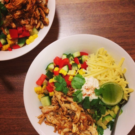 Chicken Burrito Bowls are a keeper, and very filling even without a rice or bread component.