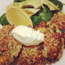 Corn, zucchini and quinoa fritters