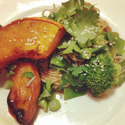 Quick and easy roasted pumpkin with soba noodles