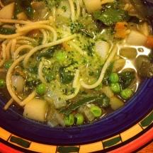 Tomato-free minestrone soup with basil pesto