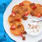 Sweet potato pancakes with candied pecans