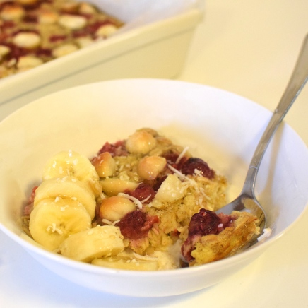 Baked Raspberry and Macadamia Oatmeal
