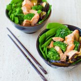 Miso Salmon and Eggplant Bowl