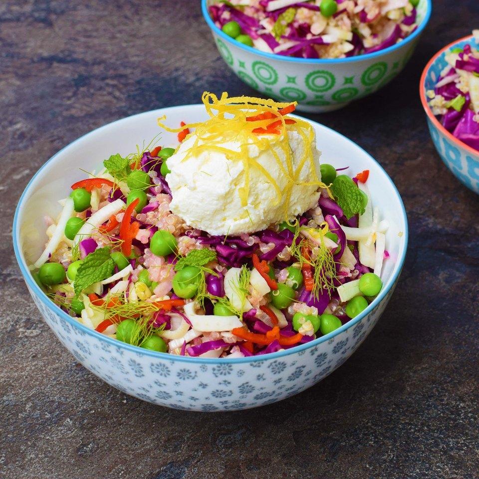 Quinoa and fennel salad with lemon ricotta