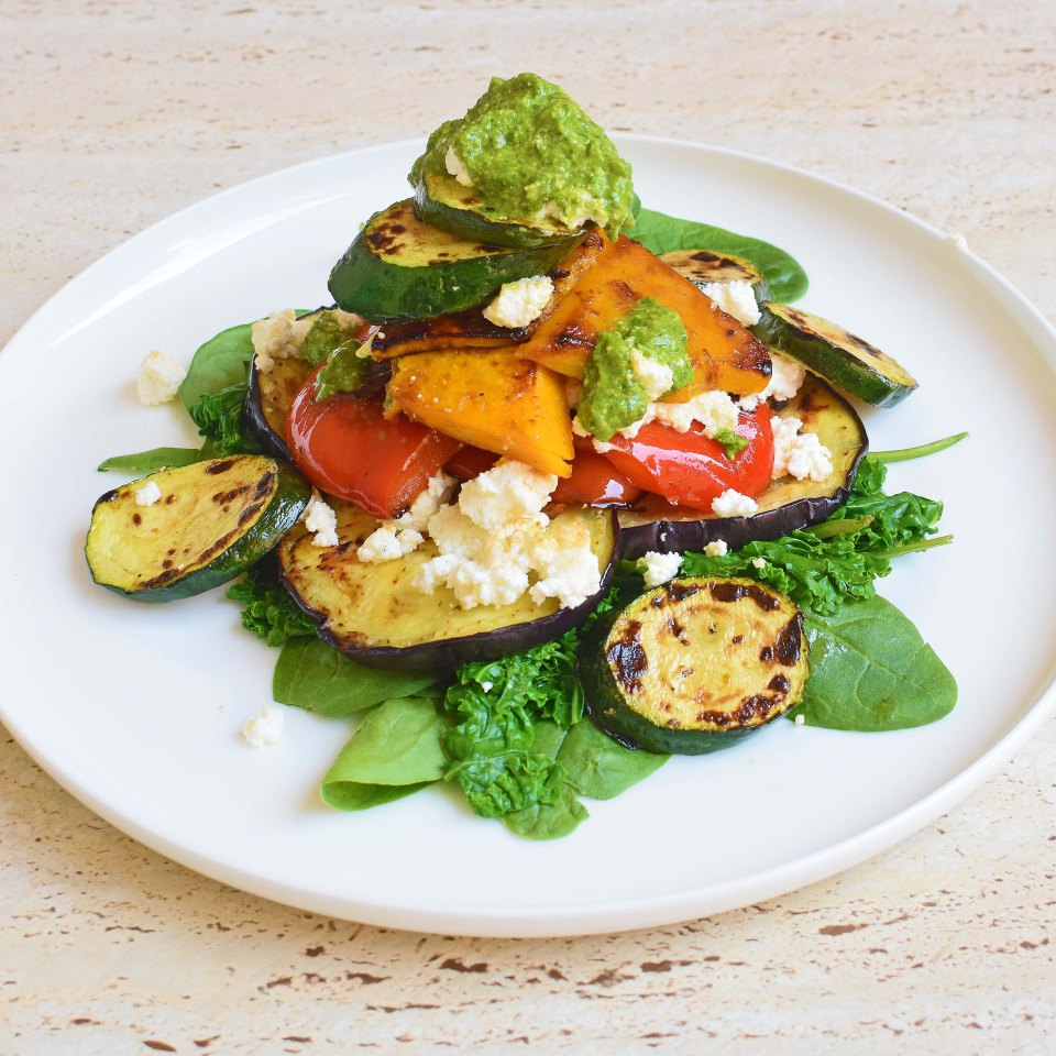 Grilled vegetable and ricotta stack with pesto