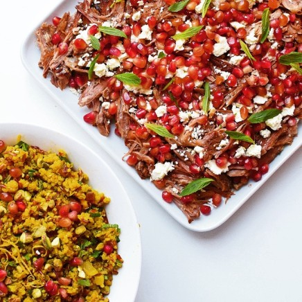 Persian slow-cooked lamb with herb and pistachio pilaf