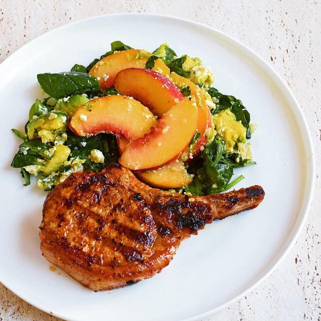 Paprika Pork Chops with Peach Salad