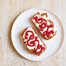 Buckwheat Toast with Ricotta and Raspberry Jam