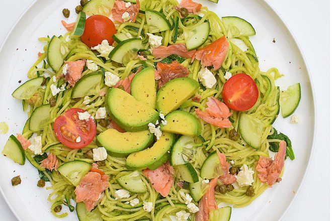 Smoked Salmon Pesto Zoodles