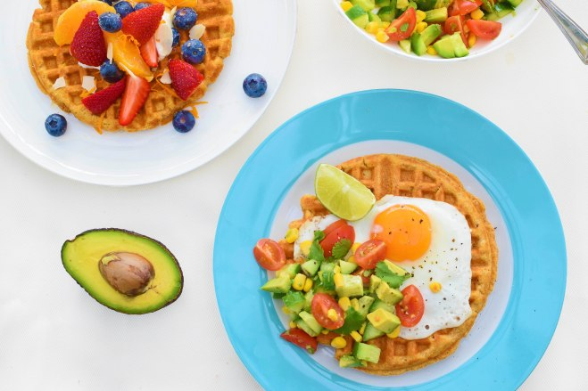Sweet potato waffles with sweet or savoury topping