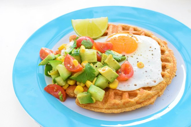 Savoury version of sweet potato waffle