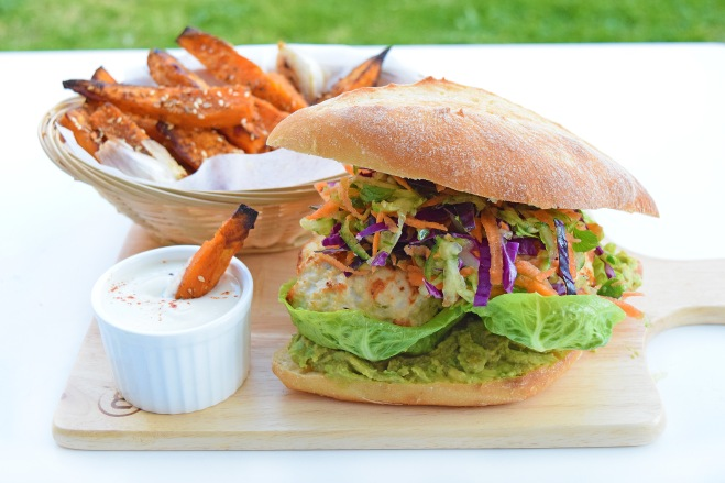 I Quit Sugar Thai Chicken Burgers with Coriander Slaw, served with Miss Marzipan's Dukkah-Crusted Sweet Potato Fries with Tahini Dipping Sauce