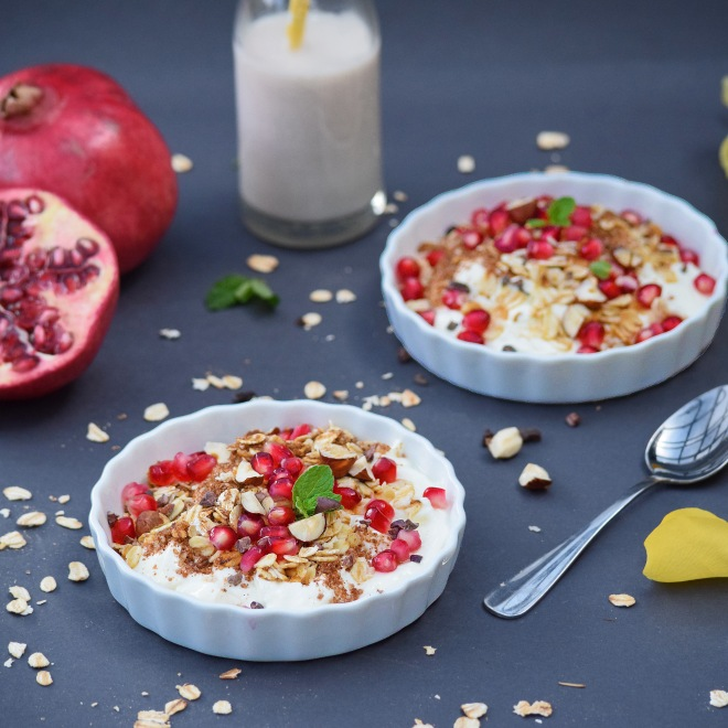 Toasted Oat, Hazelnut and Cacao Granola with Rosewater