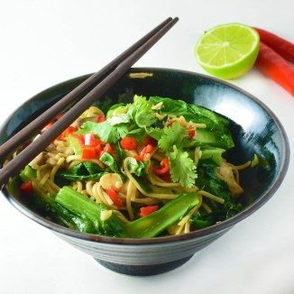 Choy Sum and soba noodles with chicken