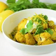 curried quinoa with zesty roast cauliflower