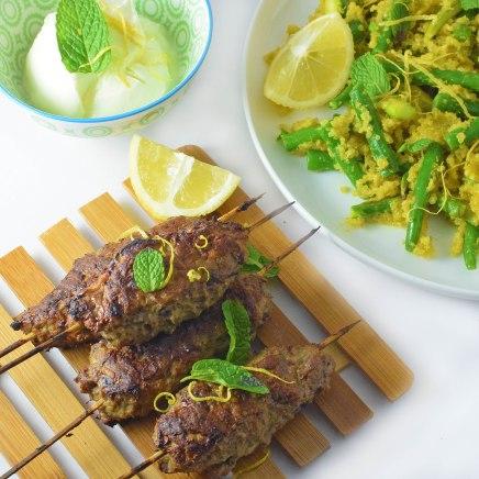 Spiced koftas with golden quinoa, lemony beans and minted yoghurt