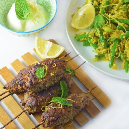 Spiced koftas with golden quinoa, lemony beans and minted yoghurt