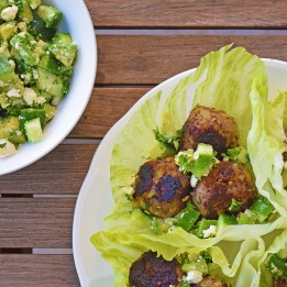 Zucchini Meatball Cups with avocado and cucumber salad