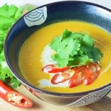 Warming thai-style sweet potato and pumpkin soup