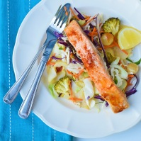 one-pan salmon with super slaw