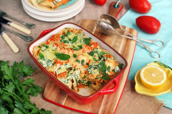 Elise's (@healthyfamily5) Ricotta and Spinach Pappardelle with Vegetable Sauce