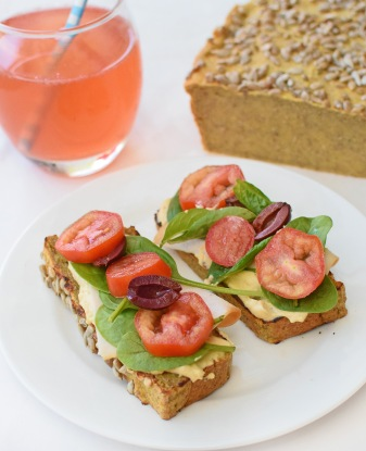 Allergy-free bread from Simplicious (p 113), with Peach and Basil Colada (p 345)