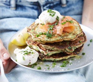Chive, Kale and Parmesan Pancakes from I Quit Sugar. Image courtesy of IQS.