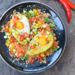 Fiery Dragon Eggs (aka baked avocado eggs with chilli salsa)