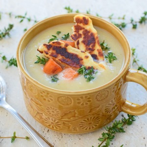 Parsnip, Pear and Thyme Soup, with Haloumi Crisps and Sweet Potato Croutons, from Simplicious