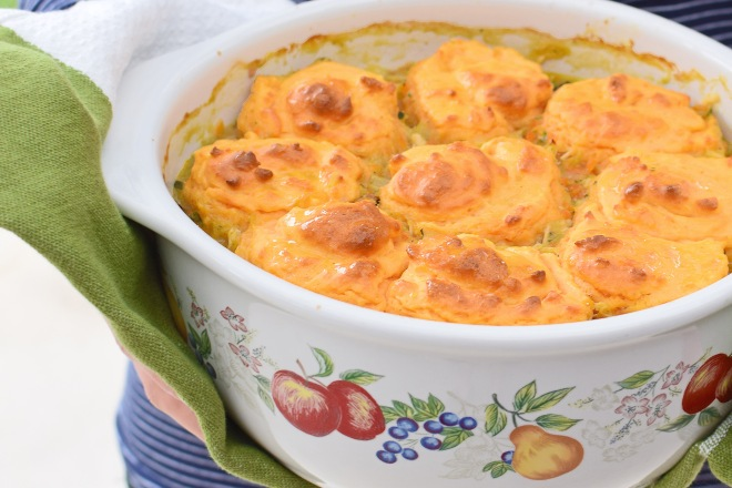 Hearty Chicken Casserole with Sweet Potato Dumplings