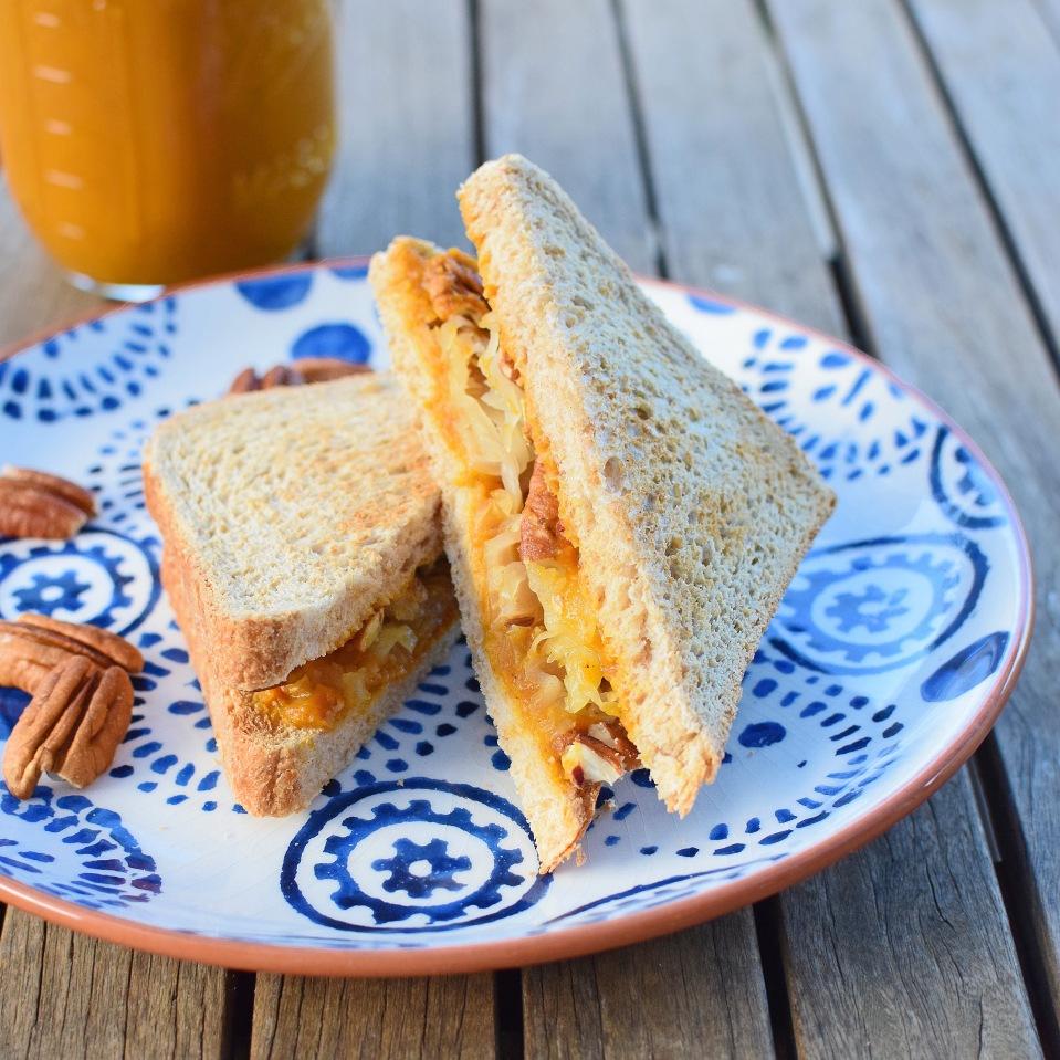 Pumpkin spice butter, pecan and sauerkraut toastie from Simplicious