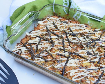 Okonomiyaki in a tray from Simplicious
