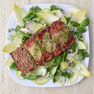 Lamb's Fry and Pear Meatloaf from Simplicious with Green Counterbalance Salad