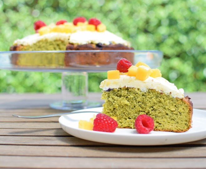 Green Smoothie Cake with Lemon Cheese Whip from Simplicious