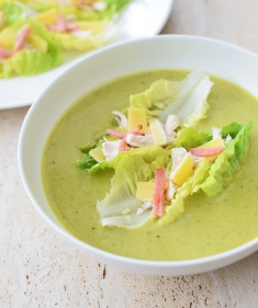 Back to the 70s Lettuce Soup with Caesar Salad Boats from Simplicious