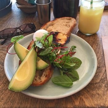 Avo on Toast from Bayleaf, with a refreshing turmeric tonic.