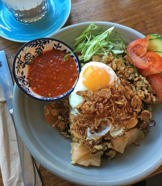 Kimchi fried rice with a crispy egg at the Roadhouse